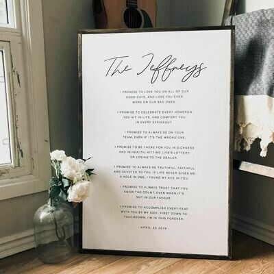 Canvas Printed Vows | Personalized Sign | Wedding Vows Sign
