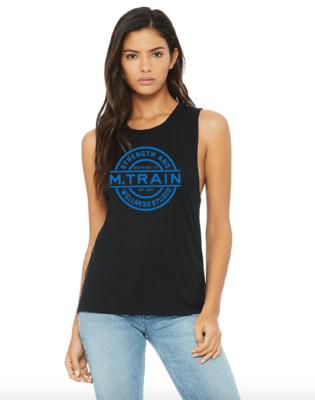 Black Flowy Scoop Muscle Tank with Blue Logo