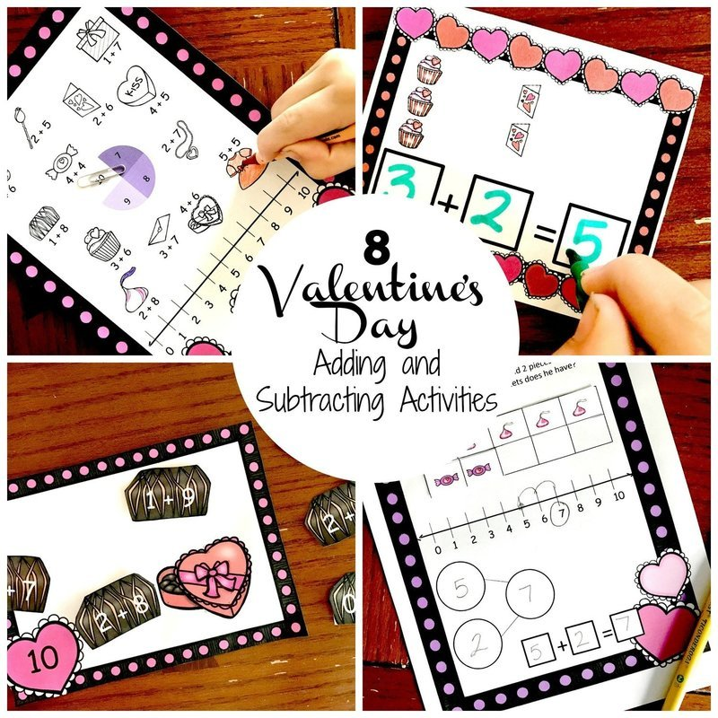 8 Valentine's Day Adding and Subtracting Activities