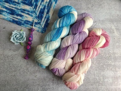 3 Skein Bluebonnet Shawl Crochet Kit Ready to Ship