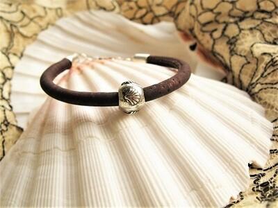 Camino bracelet - 925 silver scallop shell bead +cork