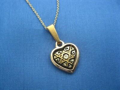 Damascene heart necklace ~ small gold