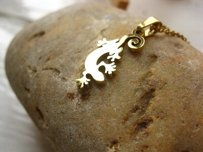 Lucky Gecko necklace ~ gold-plated