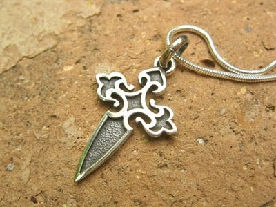 Santiago Camino cross necklace ~ two-tone fretwork, silver