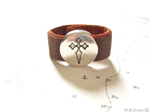 Camino de Santiago symbols ring - leather 13mm