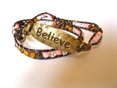 BELIEVE bracelet ~ coral + tigers eye