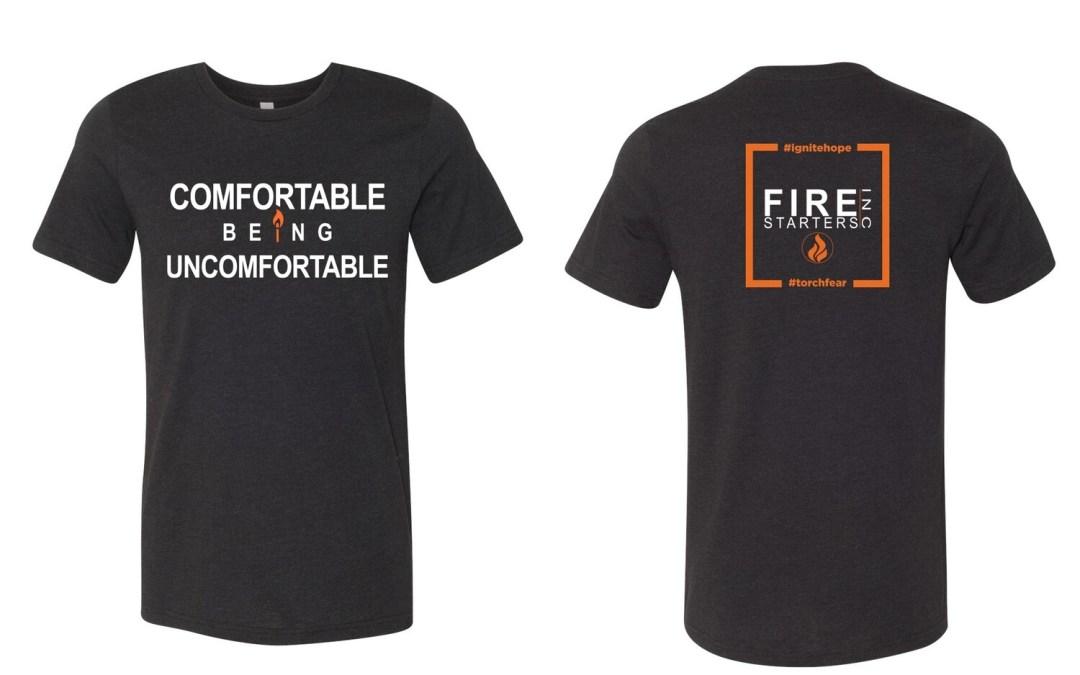 Comfortable Being Uncomfortable Standard Fit T shirt (Dark Heather Gray)