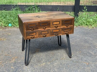 Vintage End Table, Industrial Table, Hairpin Legs