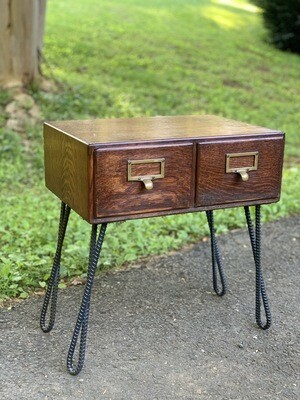 Vintage end Table, Table With storage, Card Catalog