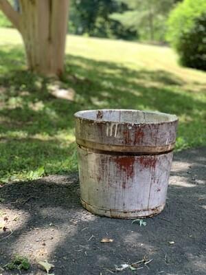 Sap Bucket, Vintage Wooden Bucket, Wooden Planter