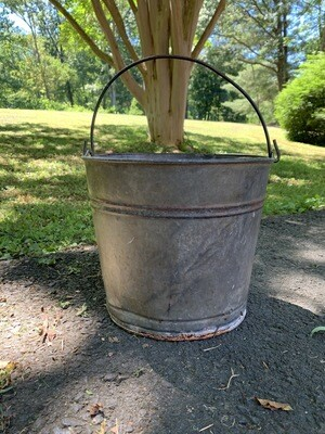 Vintage Metal Bucket, Metal Planter