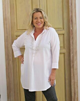 Tianne - White self stripe stretch cotton tunic