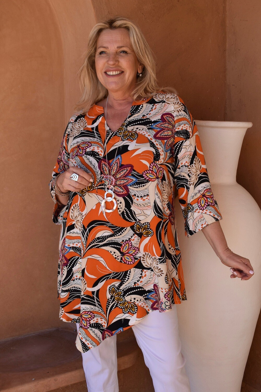 Toni - Vibrant Floral Print Kaftan Tunic