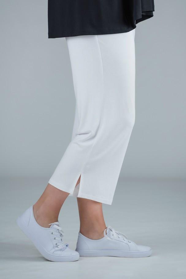 Payton - Jersey crop trousers white