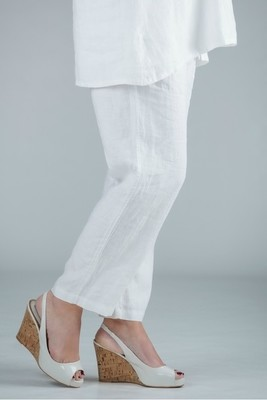 Pamela - White linen trousers straight leg - Medium or short length
