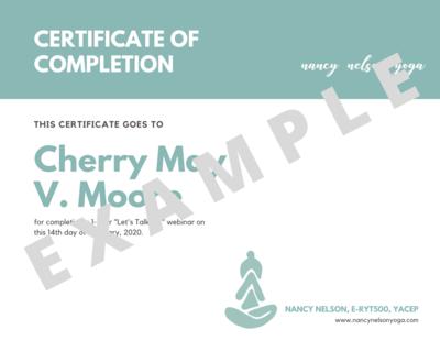 Certificate of Completion - Online Webinars