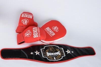 Боксерский набор (лапа,пояс, перчатки) Лидер 21539
