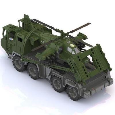 Военная машина Military - Тягач ЩИТ с вертолетом Нодпласт 256