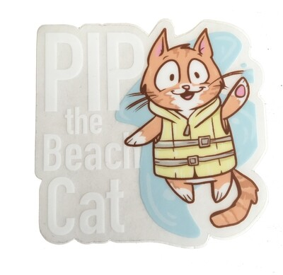 Limited Edition: Clear Pip the Beach Cat Sticker