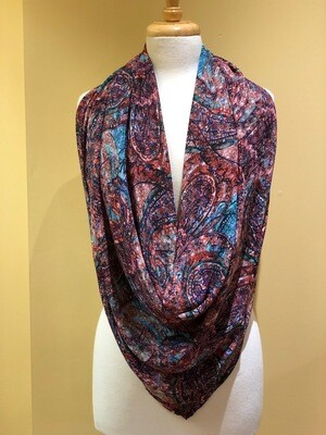 Stain Glass Paisley Chiffon Square Scarf