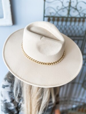 Beige Hat with Gold Chain
