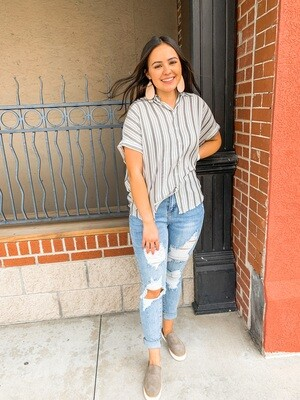 Charcoal Stripe Camp Shirt