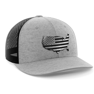 Hat - Black Leather Patch: Ameriflag