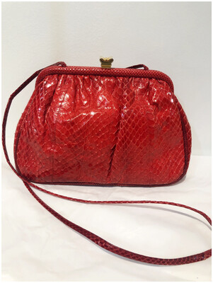 Vintage Red Reptile Skin Leather Bag By Neiman Marcus, Made In Italy
