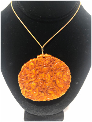 Vintage Buddha Resin Round Pendant on Leather Cord