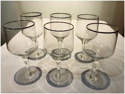 Vintage Silver Rimmed Wine Glasses
