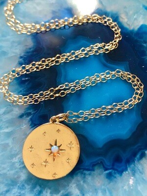 14kt. Gold Filled Chain, Gold Plated Coin With Opal, 18""