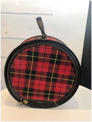 1950's Atlantic Products Tartan Plaid Hat Box