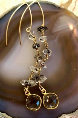 14kt. Gold Filled French Wire Earrings With Herkimer Diamond With Topaz Pendants