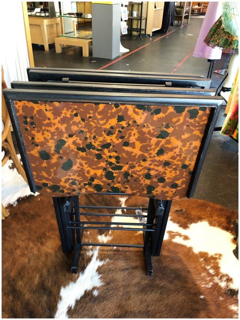Vintage Set Of Four Folding Tea/TV Tables In Stand