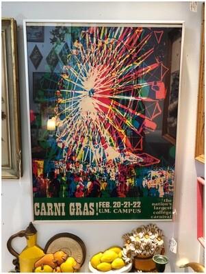 Vintage Carni Gras University Of Miami Framed Poster