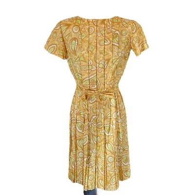 Vintage 1960's Handmade Cotton Belted Paisley Dress