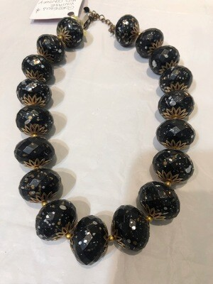 Mid Century Speckled Charcoal Colored Beaded Necklace