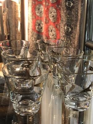 Mid Century Boomerang Motif Glasses, Set of 6