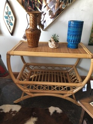 Vintage Bamboo Rattan Side Table with Lattice and Bentwood Design