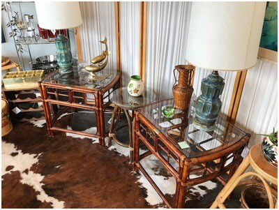 Vintage Rattan Glass Top End Tables