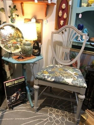 Vintage Grey Chair with Dragon Fabric