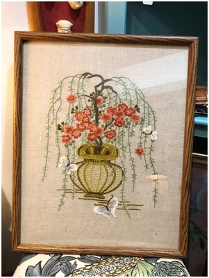 Vintage Crewel Embroidered Floral & Butterflies