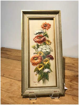 Mid Century Framed 3D Floral Art