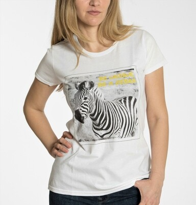 BE UNIQUE. BE A ZEBRA. Women's travel tee white