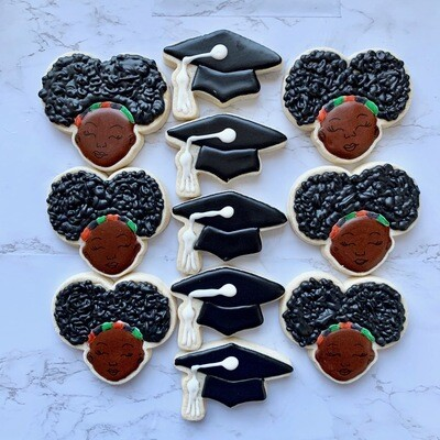 Afro Puff Royal Icing Cookies