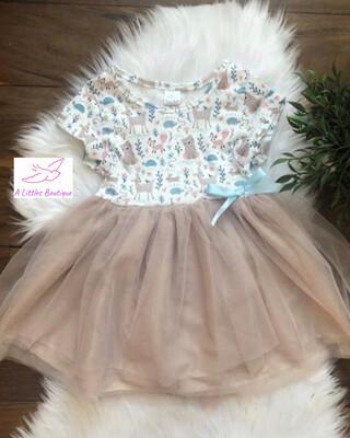 (163-1) Animal Friends Tutu Dress 6-12M