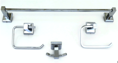 Deco & Deco Decorative Four Piece Bathroom Accesory Set Solid Brass Square Base Brushed Nickel