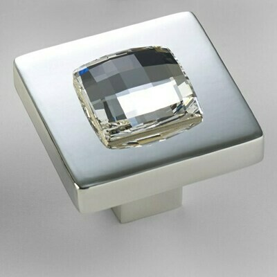 Deco & Deco Decorative Cabinet Knobs Solid Brass Cabinet Knob with Swarovski Crystal Silver