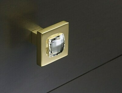 Deco & Deco Decorative Cabinet Knobs Solid Brass Cabinet Knob with Swarovski Crystal Gold