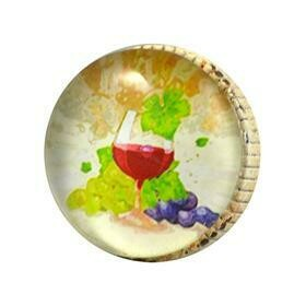 Charleston Knob Company  RETRO WHITEWASHED METAL  NAPA VALLEY WINE GLASS CABINET KNOB